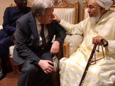 Abdallah Bin Bayyah junto a António Guterres, secretario general de la ONU
